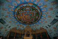 The ceiling of the Buddhist temple build by the Germans in Lumbini Nepal, marks the birth place of Siddhartha Gautam Buddha..In 1976, the Nepalese Government and UNESCO designated Lumbini as a world heritage site..-The full text reportage is available on request in Word format