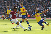 West Ham United's Grady Diangana and Southampton's Ryan Bertrand<br /> <br /> Photographer Rob Newell/CameraSport<br /> <br /> The Premier League - West Ham United v Southampton - Saturday 4th May 2019 - London Stadium - London<br /> <br /> World Copyright © 2019 CameraSport. All rights reserved. 43 Linden Ave. Countesthorpe. Leicester. England. LE8 5PG - Tel: +44 (0) 116 277 4147 - admin@camerasport.com - www.camerasport.com
