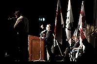 Bergamo 10-04-2012: Roberto Maroni  parla durante la «Serata dell'orgoglio leghista», dopo lo scandalo  dell'inchiesta sui fondi della Lega...Bergamo 10-04-2012: Roberto Maroni attends the Padania Pride political convention
