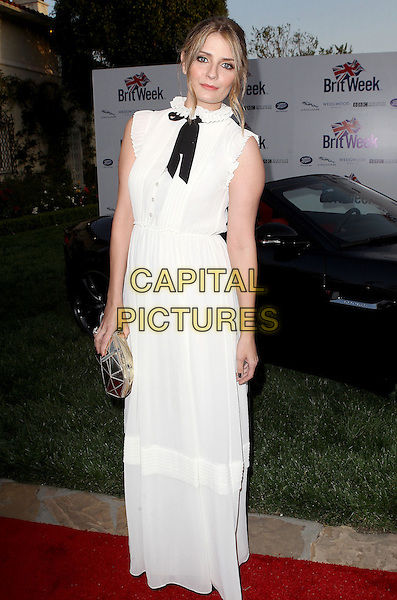"Mischa Barton.7th Annual BritWeek Festival ""A Salute To Old Hollywood"" Launch Party held at the British Consul General's Residence, Los Angeles, California, USA..April 23rd, 2013.full length black bow white dress maxi sleeveless silver clutch bag pussybow  .CAP/ADM/KB.©Kevan Brooks/AdMedia/Capital Pictures"