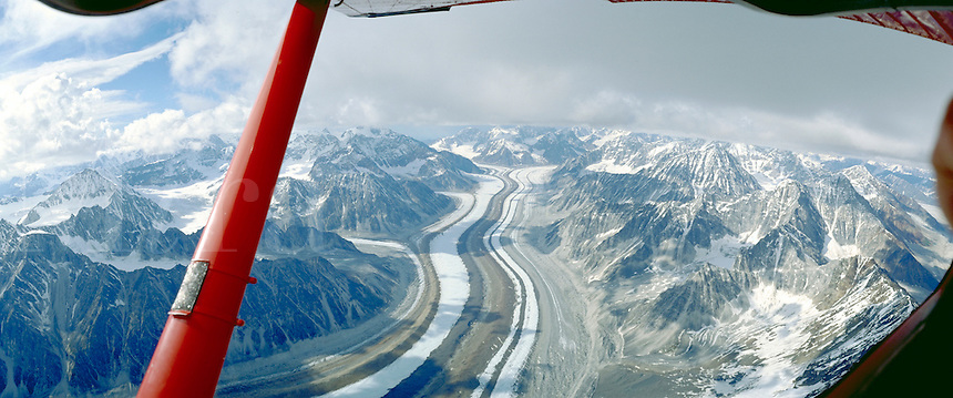 Flying above the Ruth Glacier near Mount McKinley   Denali in Alaska. Talkeetna Alaska United States Ruth Glacier.