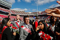 Anthony Tenney, left, takes a selfie as he waits with the rest of the 2015 Homecoming Court before the Ohio State Buckeyes college football game against the Maryland Terrapins on Saturday, October 10, 2015 at Ohio Stadium in Columbus, Ohio. (Joshua A. Bickel/The Columbus Dispatch)