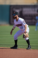 Inland Empire 66ers second baseman Alvaro Rubalcaba (12) during a California League game against the Modesto Nuts on April 10, 2019 at San Manuel Stadium in San Bernardino, California. Inland Empire defeated Modesto 5-4 in 13 innings. (Zachary Lucy/Four Seam Images)
