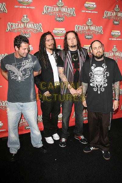 """KORN.At Spike TV's """"Scream Awards 2006"""", Press Room,.at the Pantages Theatre, Hollywood, California, USA, .7th October 2006..full length.Ref: ADM/ZL.www.capitalpictures.com.sales@capitalpictures.com.©Zach Lipp/AdMedia/Capital Pictures."""