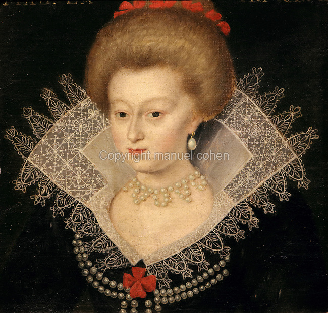 Portrait of a young noblewoman, wearing a lace collar and pearl jewellery, oil painting on canvas, c. 1625, by unknown artist, from the Gallery of portraits from the Chateau de Saint Germain-Beaupre, Creuse, now in the Musee des Beaux-Arts de la Ville de Blois, housed since 1869 on the first floor of the Louis XII wing of the Chateau Royal de Blois, built 13th - 17th century in Blois in the Loire Valley, Loir-et-Cher, Centre, France. The museum originally opened in 1850 in the Francois I wing, but moved here in 1869 after the rooms had been restored by Felix Duban in 1861-66. The chateau has 564 rooms and 75 staircases and is listed as a historic monument and UNESCO World Heritage Site. Picture by Manuel Cohen