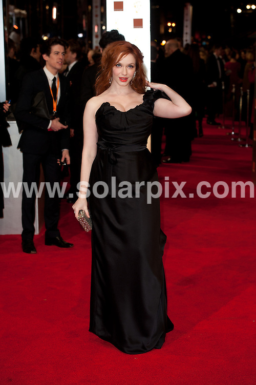**ALL ROUND PICTURES FROM SOLARPIX.COM**                                             **WORLDWIDE SYNDICATION RIGHTS**                                                                                  Caption: Orange British Academy Film Awards at The .Royal Opera House in Covent Garden London                                                                              This pic:  Christina Hendricks                                                                                     JOB REF:14469        WMB      DATE: 12.02.2012                                                           **MUST CREDIT SOLARPIX.COM OR DOUBLE FEE WILL BE CHARGED**                                                                      **MUST AGREE FEE BEFORE ONLINE USAGE**                               **CALL US ON: +34 952 811 768 or LOW RATE FROM UK 0844 617 7637**