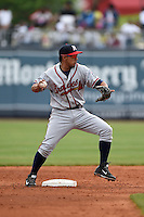 Mississippi Braves second baseman Emerson Landoni (19) attempts to turn a double play during a game against the Montgomery Biscuits on April 22, 2014 at Riverwalk Stadium in Montgomery, Alabama.  Mississippi defeated Montgomery 6-2.  (Mike Janes/Four Seam Images)