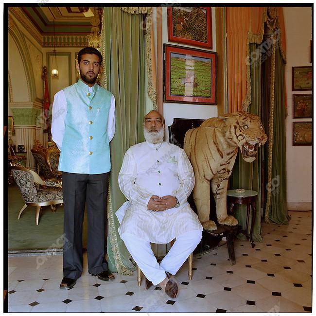 Arvind Singh Mewar, the 76th Maharana of Udaipur, and his son Prince Lakshyaraj. Udaipur, Rajasthan, India, February 2006.