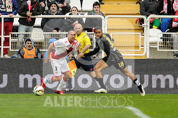Rayo Vallecano´s Jose Ignacio Garcia and Malaga CF´s Roberto Jose Rosales during 2014-15 La Liga match between Rayo Vallecano and Malaga CF at Rayo Vallecano stadium in Madrid, Spain. March 21, 2015. (ALTERPHOTOS/Luis Fernandez)