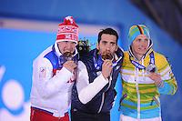 OLYMPICS: SOCHI: Medal Plaza, 14-02-2014, Biathlon, Men's 20km Individual, podium, Evgeniy Granichev (RUS), Martin Fourcade (FRA), Eric Lesser (GER), ©foto Martin de Jong
