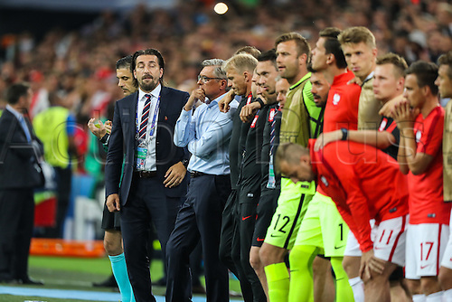 30.06.2016. Marseille, France. UEFA EURO 2016 quarter final match between Poland and Portugal at the Stade Velodrome in Marseille, France, 30 June 2016.   Tomasz Iwan, Trainer Adam Nawalka (POL) watch the penalty kicks