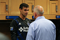 San Jose, CA - Saturday April 08, 2017: Chris Wondolowski, Dominic Kinnear  after a Major League Soccer (MLS) match between the San Jose Earthquakes and the Seattle Sounders FC at Avaya Stadium.