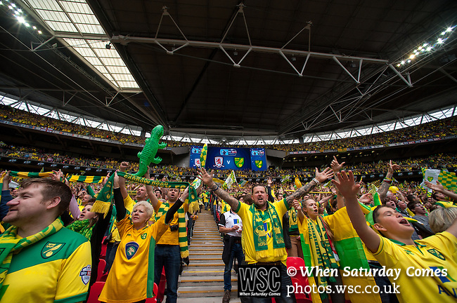 Norwich City 2 Middlesbrough 0, 25/05/2015. Wembley Stadium, Championship Play Off Final. Norwich supports lift their team ahead of kick off. A match worth £120m to the victors. On the day Norwich City secured an instant return to the Premier League with victory over Middlesbrough in front of 85,656. Photo by Simon Gill.