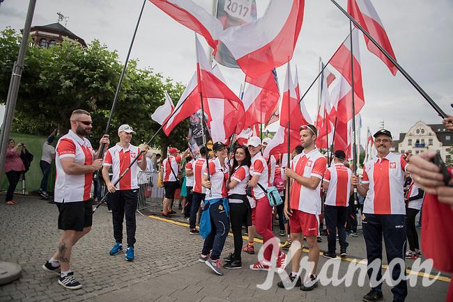 """Polish fans/flags<br /> <br /> """"Le Grand Départ"""" <br /> 104th Tour de France 2017 <br /> Team Presentation in Düsseldorf/Germany"""