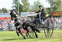 Concours Hippique Buitenpost 050809.Frits de Jong wint in de Ereklasse voor éénspannen met Wierd ut 'e Polder.©foto Martin de Jong
