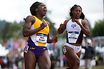 EUGENE, OR - JUNE 10: Mikiah Brisco of Louisiana State University races to victory in the 100 meter dash during the Division I Women's Outdoor Track & Field Championship held at Hayward Field on June 10, 2017 in Eugene, Oregon. Brisco won the event with a 10.96 time. (Photo by Jamie Schwaberow/NCAA Photos via Getty Images)