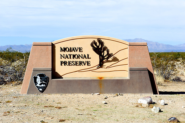 Monument sign at the Essex Rd entrance to the Mojave National Preserve