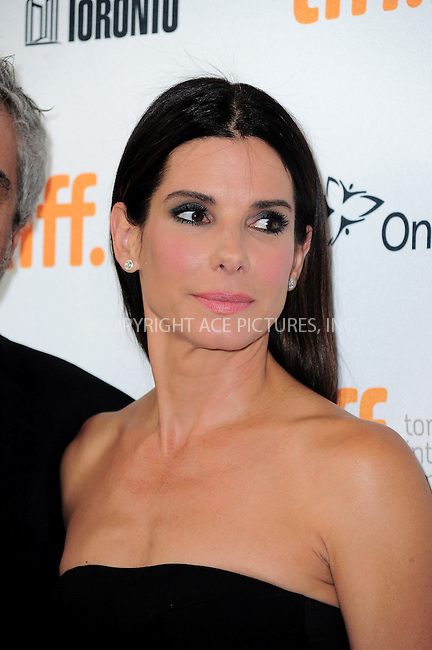 WWW.ACEPIXS.COM<br /> <br /> <br /> September 8, 2013, Toronto, Canada<br /> <br /> Sandra Bullock arriving at the 'Gravity' premiere during the 2013 Toronto International Film Festival held at Princess of Wales Theatre on September 8, 2013 in Toronto, Canada.<br /> <br /> <br /> <br /> <br /> By Line:  William Bernard/ACE Pictures<br /> <br /> ACE Pictures, Inc<br /> Tel: 646 769 0430<br /> Email: info@acepixs.com