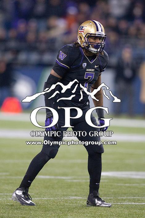 NOV 10, 2012:  Washington's Shaq Thompson against Utah.  Washington defeated Utah  34-15 at CenturyLink Field in Seattle, WA...