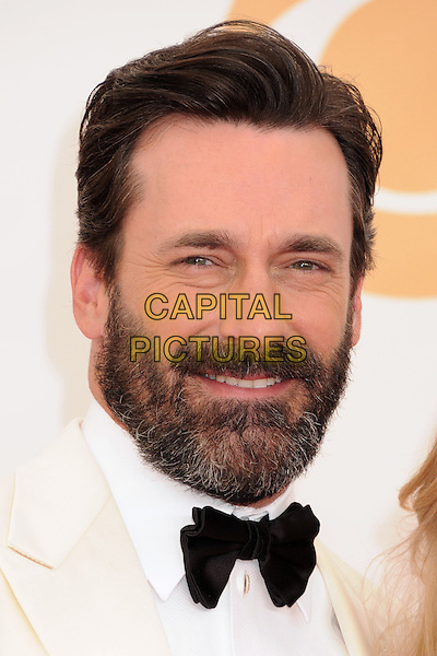 Jon Hamm<br /> The 65th Annual Primetime Emmy Awards - Arrivals held at The Nokia Theatre L.A. Live in Los Angeles, California, USA.<br /> September 22nd, 2013 <br /> headshot portrait bow tie white tuxedo black beard facial hair cream jacket <br /> CAP/ADM/BP<br /> &copy;Byron Purvis/AdMedia/Capital Pictures