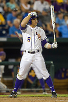 LSU Tiger first baseman Mason Katz (8) at bat during Game 4 of the 2013 Men's College World Series against the UCLA Bruins on June 16, 2013 at TD Ameritrade Park in Omaha, Nebraska. UCLA defeated LSU 2-1. (Andrew Woolley/Four Seam Images)