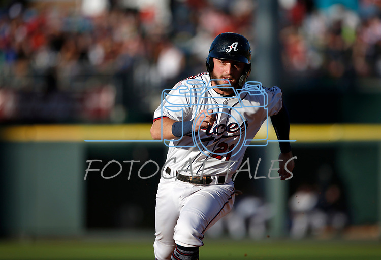 Reno Aces' Wyatt Mathisen runs the bases in a game against the Sacramento River Cats, in Reno, Nev., on Thursday, July 4, 2019.<br /> Photo by Cathleen Allison/Nevada Momentum