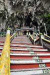 The steps leading into the Batu Caves, a Hindu holy site, near Kuala Lumpur, Malaysia.