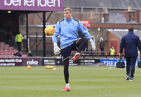 Luton keeper Elliot Justham warms up before the Sky Bet League 2 match between York City and Luton Town at Bootham Crescent, York, England on 27 February 2016. Photo by Liam Smith.