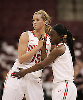 Ohio State's Aleksandra Dobranic (15) and Amber Stokes (3) celebrate their double-overtime victory over Wisconsin during their NCAA basketball game Thursday, Feb. 7, 2013, in Columbus Ohio. (Photo for the Dispatch by Mike Munden)