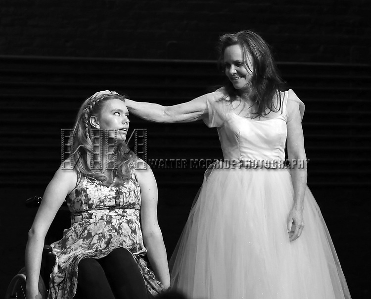"""Madison Ferris and Sally Field during the Broadway Opening Night Performance Curtain Call Bows for """"The Glass Menagerie'"""" at the Belasco Theatre on March 9, 2017 in New York City."""