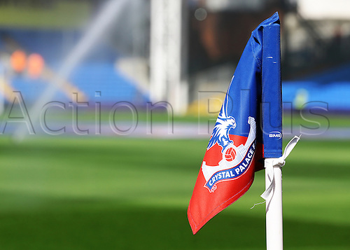 09.04.2016. Selhurst Park, London, England. Barclays Premier League. Crystal Palace versus Norwich. Selhurst Park corner flag as groundskeepers prepare for the match
