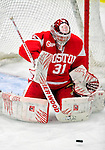 9 January 2011: Boston University Terrier goaltender Kieran Millan, a Junior from Edmonton, Alberta, in action against the University of Vermont Catamounts at Gutterson Fieldhouse in Burlington, Vermont. The Terriers defeated the Catamounts 4-2 in Hockey East play. Mandatory Credit: Ed Wolfstein Photo