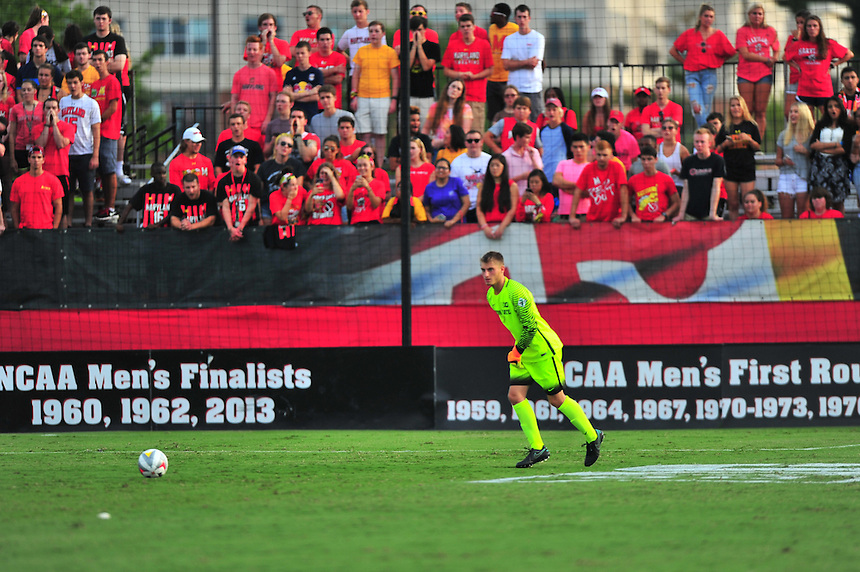 Arie Ammann of Penn State is taunted by the Maryland Crew. Maryland defeated Penn State in over time 3-2 during an NCAA D-1 soccer match at Ludwig Field in College Park, MD on Sunday, September 18, 2016.  Alan P. Santos/DC Sports Box