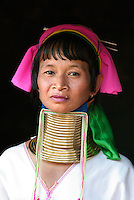 Contrary to popular belief, the necks of Kayan women are not actually lengthened. As coils are replaced with longer coil over many years, the weight of the brass pushes the collar bone down and compresses the rib cage. Their necks look stretched due to the deformation of the clavicle. Their necks and collar bones are often bruised and discolored so once on, the rings are rarely removed but the women do not suffocate if the rings are removed as many believe.