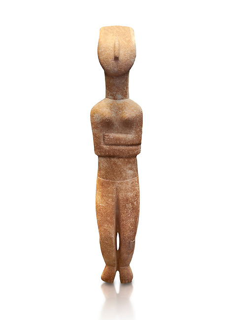 Female Cycladic statue figurine with folded arms of the Spedos and Dokathismata type. Early Cycladic Period II (2800-3200) from Naxos. National Archaeological Museum, Athens.   White background.<br /> <br /> <br /> This Cycladic statue figurine is of the Spedos type standing on tip tie with bended knees and arms folded under the breasts with head raiised.