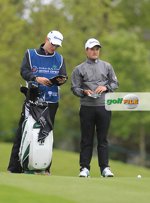 Jack Hume (AM)(IRL) with his caddie during Thursday's Round 1 ahead of the 2016 Dubai Duty Free Irish Open Hosted by The Rory Foundation which is played at the K Club Golf Resort, Straffan, Co. Kildare, Ireland. 19/05/2016. Picture Golffile | TJ Caffrey.<br />