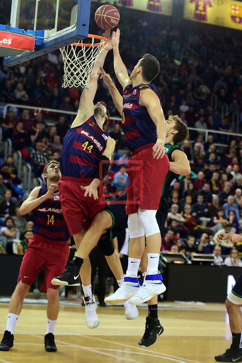 League ACB-ENDESA 2016/2017 - Game: 13.<br /> FC Barcelona Lassa vs Divina seguros Joventut: 79-77.<br /> Ante Tomic, Luka Lapornik &amp; Victor Claver.