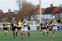 Match action as Nottingham Rugby FC try and stop an attack during the Championship Cup Quarter Final match between Ealing Trailfinders and Nottingham Rugby at Castle Bar , West Ealing , England  on 2 February 2019. Photo by Carlton Myrie / PRiME Media Images.