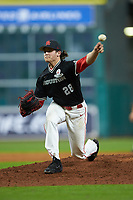 Houston Cougars relief pitcher Brayson Hurdsman (28) delivers a pitch to the plate against the Mississippi State Bulldogs in game six of the 2018 Shriners Hospitals for Children College Classic at Minute Maid Park on March 3, 2018 in Houston, Texas. The Bulldogs defeated the Cougars 3-2 in 12 innings. (Brian Westerholt/Four Seam Images)