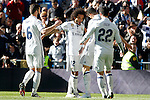 Real Madrid's Nacho Fernandez, Marcelo Vieira, Cristiano Ronaldo and Isco Alarcon celebrate goal during La Liga match. January 7,2016. (ALTERPHOTOS/Acero)