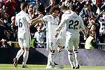 Real Madrid's Nacho Fernandez, Marcelo Vieira, Cristiano Ronaldo and Isco Alarcon celebrate goal during La Liga match. January 7,2016. (ALTERPHOTOS/Acero)