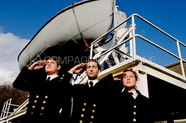 Pupils of the Antwerp Maritime Academy in their school uniforms (Belgium, 13/11/2008)