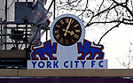 York City 2 Spennymoor Town 2, 20/01/2018. Bootham Crescent, National League North. The York City clock.  Photo by Paul Thompson.
