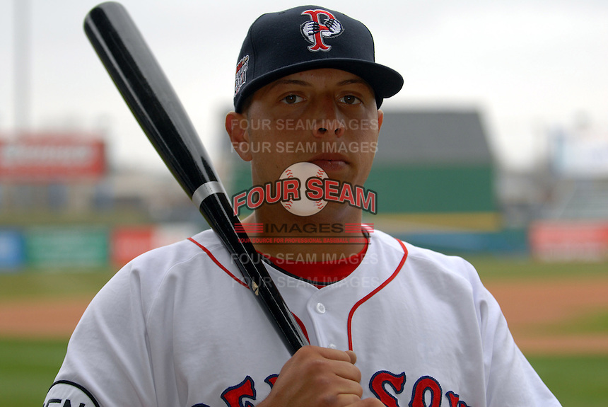 Luis Exposito, catcher for the Pawtucket Red Sox, poses for a photo during the teams media day on April 5, 2011 at McCoy Stadium in Pawtucket, Rhode Island.  Photo By Ken Babbitt/Four Seam Images
