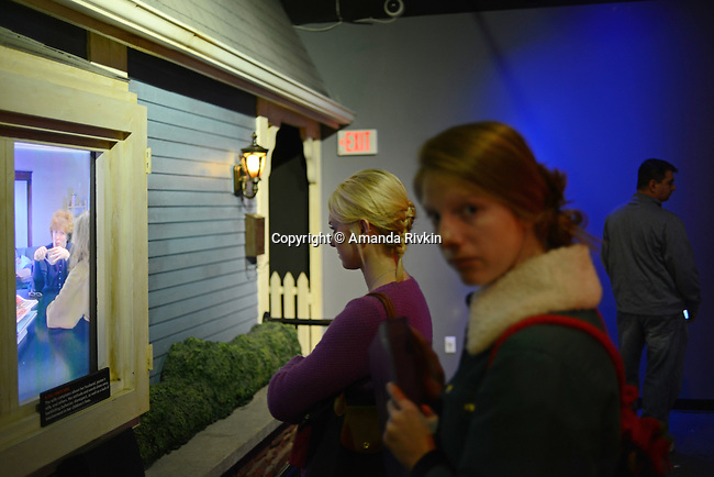 "Visitors are seen inside the Creation Museum in Petersburg, Kentucky on January 3, 2013.  The Creation Museum teaches the difference between ""man's law"" and ""god's law,"" disputing evolution, evolutionary science and other teachings that eschew the Bible."