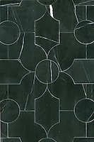 Chatham 2, a waterjet mosaic shown in honed Nero Marquina, is part of the Silk Road collection by Sara Baldwin for New Ravenna.