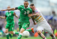 13th June 2013; Euro 2016 Qualifier, Republic of Ireland vs Scotland, Aviva Stadium, Dublin. <br /> Ireland&rsquo;s Marc Wilson with Steven Fletcher of Scotland.<br /> Picture credit: Tommy Grealy/actionshots.ie.