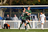 Aaron Gaide (4) and Donnie Surdoval (15) of the Dartmouth Big Green celebrate the fourth goal of the game. Dartmouth defeated Monmouth 4-0 during the first round of the 2010 NCAA Division 1 Men's Soccer Championship on the Great Lawn of Monmouth University in West Long Branch, NJ, on November 18, 2010.