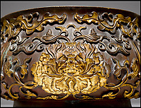 BNPS.co.uk (01202 558833)<br /> Pic: KollerAuctions/BNPS<br /> <br /> Gilded peony design.<br /> <br /> Smashed It! - £3.8 million paid for 300 year old Chinese bronze used to keep tennis balls in.<br /> <br /> The incense burning censer, decorated with auspicious peony and phoenix designs, was thought by its owners to be a 19th century copy.<br /> <br /> It was only when the family invited Asian art specialist Regi Preiswerk to their home to look at some other antiques that its true potential was spotted.<br /> <br /> The 2ft wide urn weighing a hefty 48 lbs was made for a Qing Emperor in the 18th century.