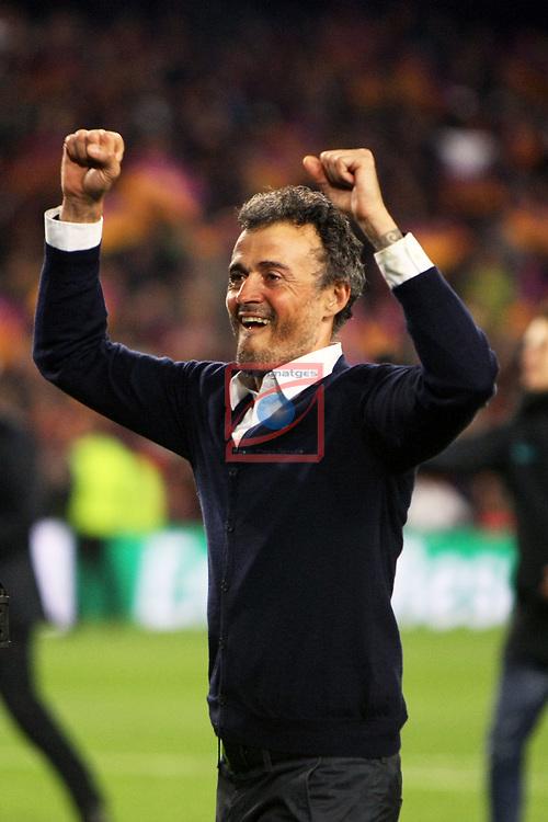 UEFA Champions League 2016/2017.<br /> Round of 16 2nd leg<br /> FC Barcelona vs Paris Saint-Germain: 6-1.<br /> Luis Enrique Martinez.